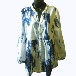 Charlie Paige White Blue Tie Dye Tunic Top